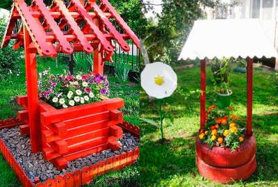 Декоративный колодец из колес на даче своими руками фото