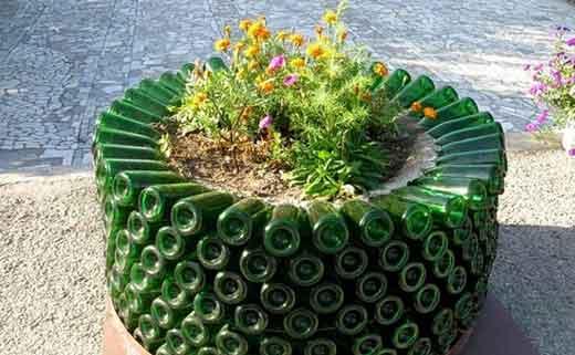 клумба из пластиковых бутылок как сделать клумбы из пластиковых