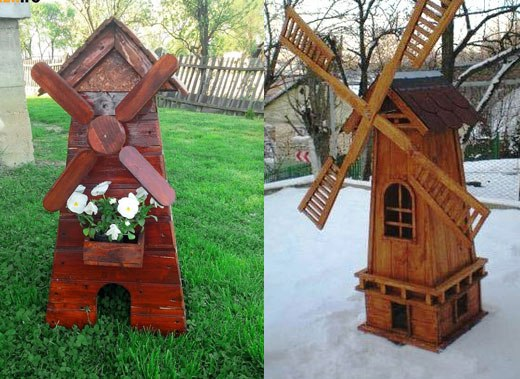 Мельница для дачи из дерева своими руками
