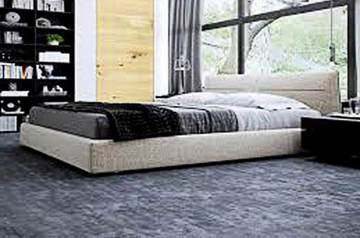 синий линолеум спальня