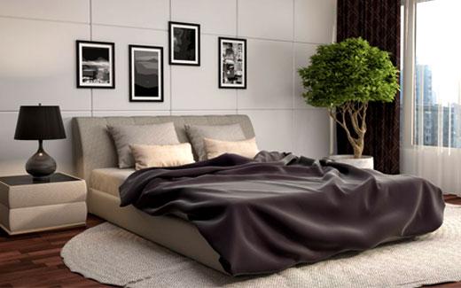 линолеум и коврик в спальне