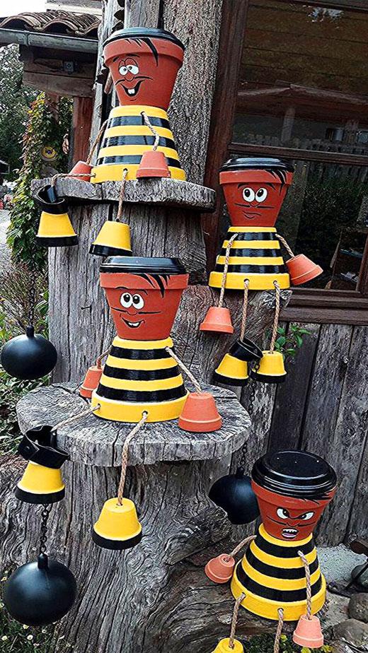 пчелки из горшков для сада