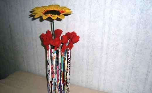 ваза из трубочек