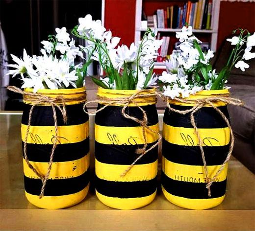 пчелки из банок для цветов