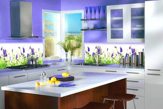 Кухонный фартук стеклянный