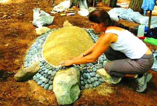 Поделки для сада - Черепаха из камней