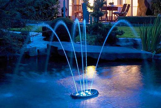 Водоем в саду с фонтаном