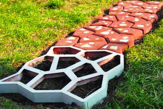 Дорожка садовая из самодельной плитки