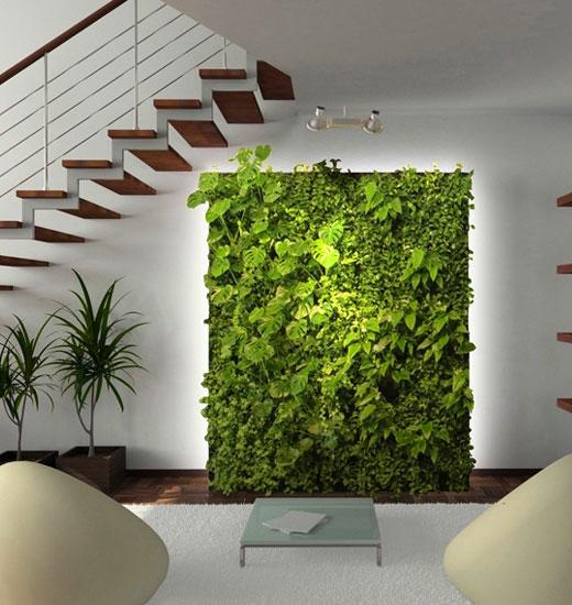 Зеленая стена из растений в прихожей
