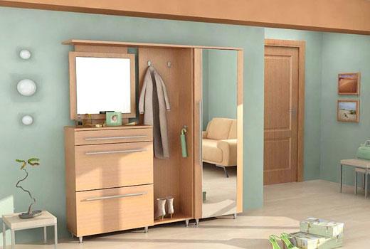 Зеркало в комплекте мебели прихожей