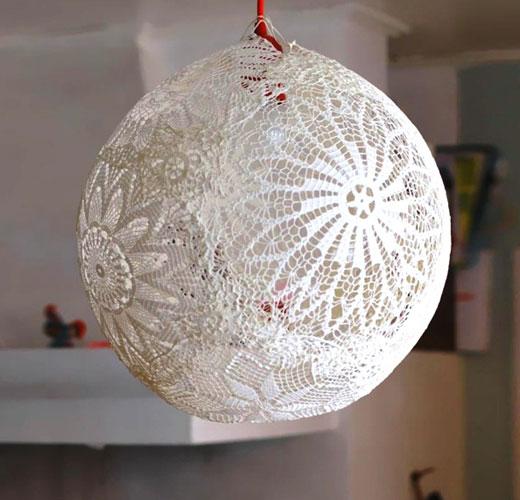 Абажур кружевной шар