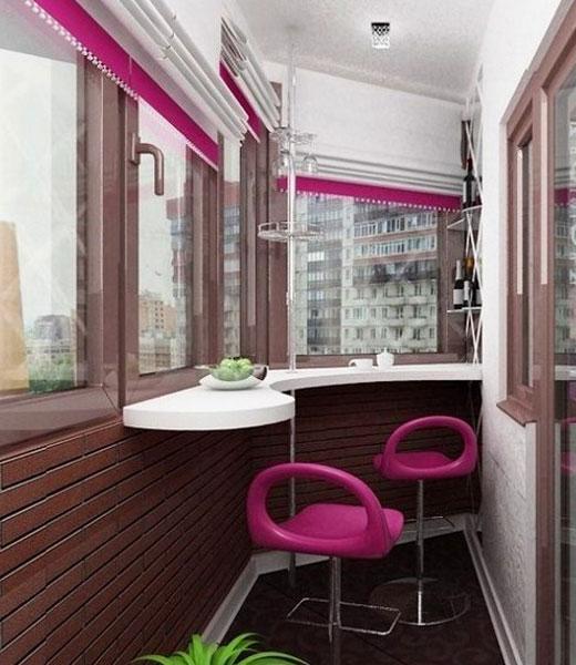 Изогнутая барная стойка для балкона