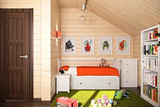 Небольшая детская комната в деревянном доме