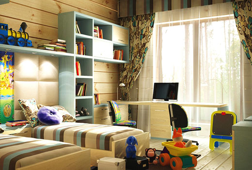 Детская комната на двоих в деревянном доме