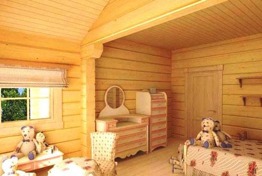 Светлая детская комната в доме из дерева