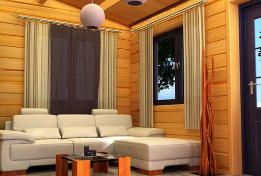 Лаконичная обстановка гостиной деревянного дома