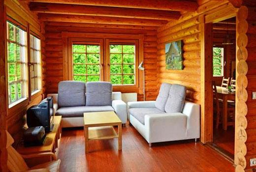 Скромная гостиная деревянного дома