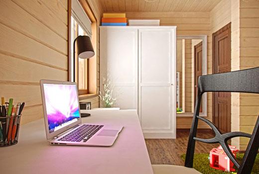 Рабочая комната в деревянном доме