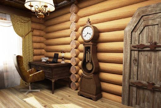 Оригинальный интерьер кабинета в деревянном доме