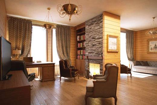 Классический кабинет в деревянном доме