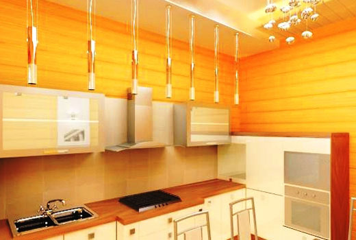 Желтая отделка кухни