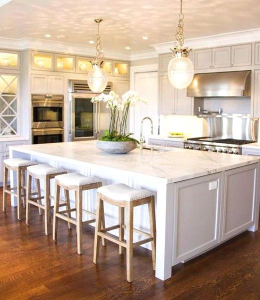 Белая барная стойка для кухни