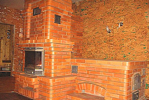 Кирпичная конструкция печи камина