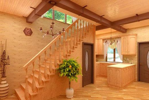 Лестница в прихожей деревянного дома