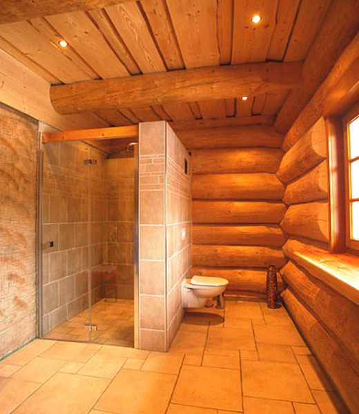 Душевая кабинка в деревянном доме