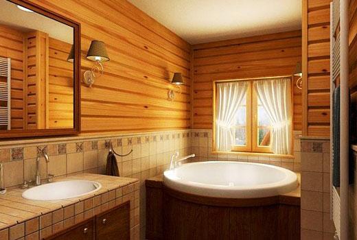 Ванная с отделкой плиткой в деревянном доме