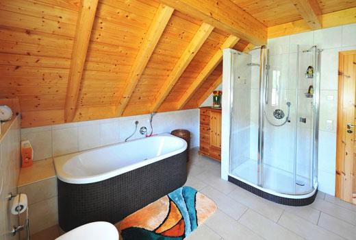 Ванная с душевой кабинкой в деревянном доме