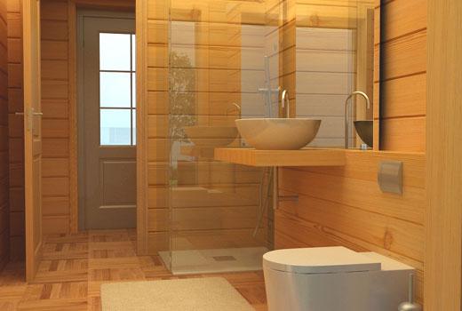Стильная ванная в доме из дерева