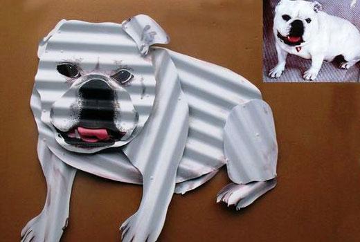 Собака из профлиста поделка для сада