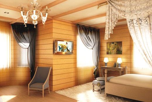 Скромная спальня в деревянном доме