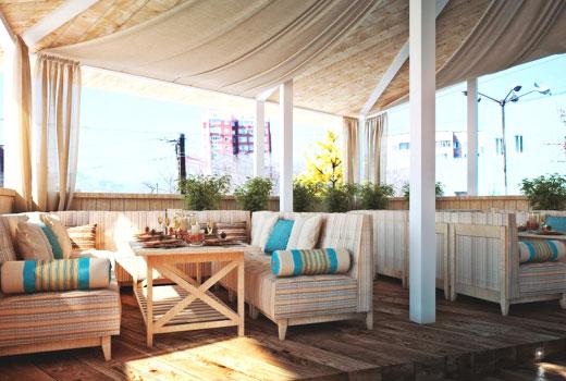 Терраса для отдыха деревянного дома