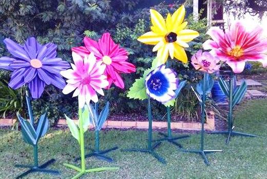 Цветы поделки из профнастила