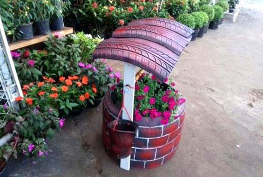 Крыша для декоративного колодца из шин
