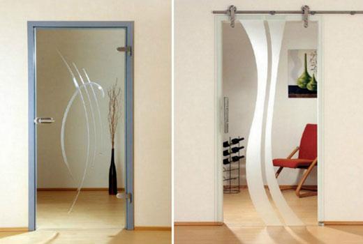 Одностворатые стеклянные двери с напылением