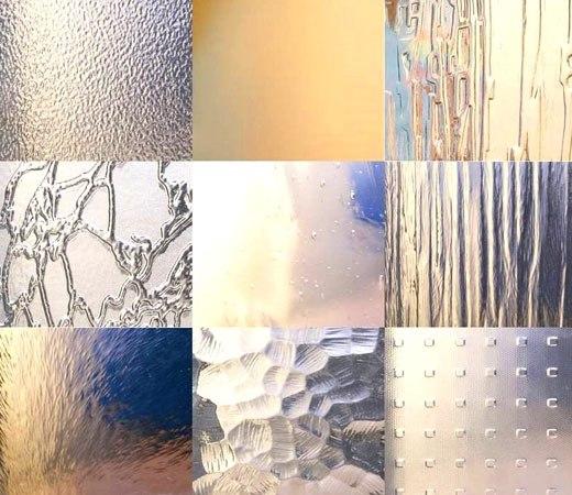 Образцы рифленых стекол для дверей
