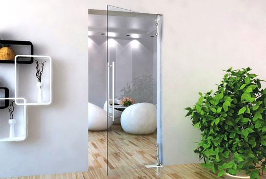 Распашные стеклянные двери с двумя створками