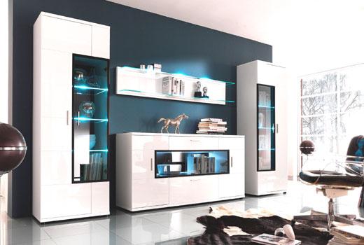 Белая современная стенка - мебель