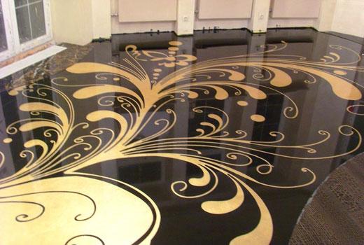 Красивый наливной пол декорированный рисунком