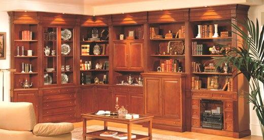 Угловая классическая стенка мебельная
