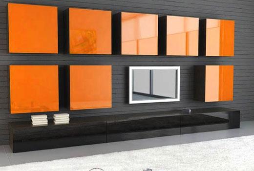 Оранжевых цвет дверок шкафчиков - интересное решение для мебельной стенки современной гостиной