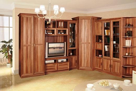 Компактная и вместительная угловая мебельная  стенка
