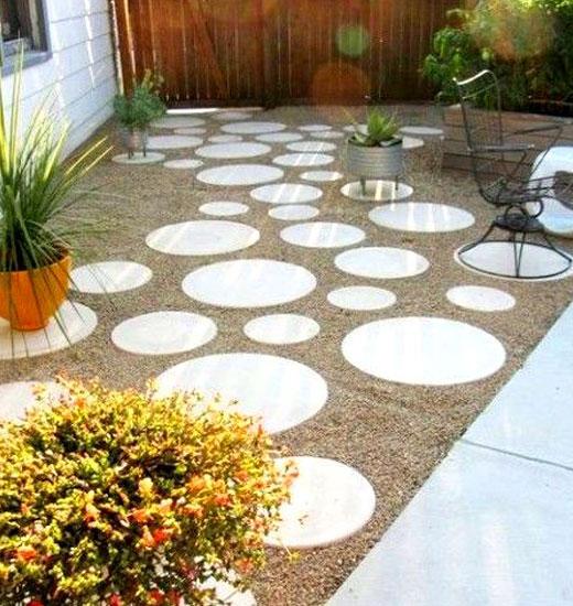 Круглые плитки для садовой дорожки