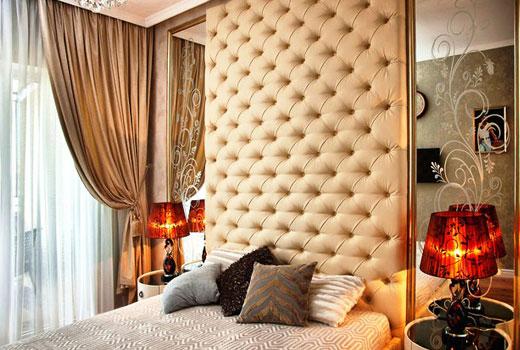 Мягкие стеновые панели в спальне