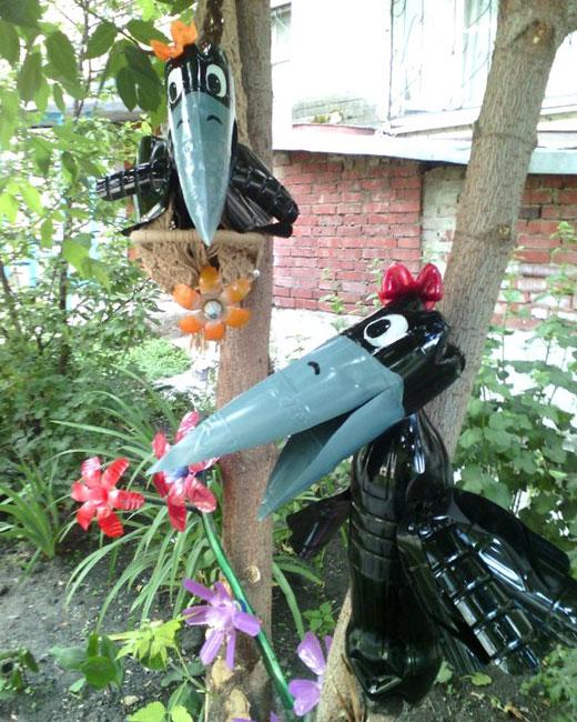 Ворона из пластиковой бутылки своими руками