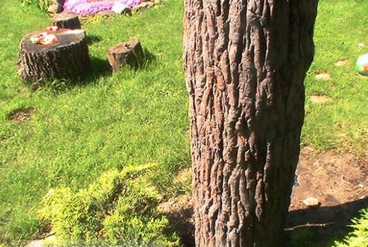Ствол дерева, декорированный печатным бетоном
