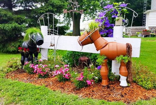 Лошади из горшков для сада